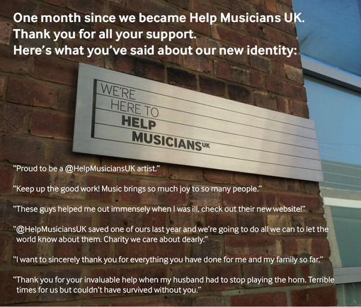 Help Musicians UK - one month on